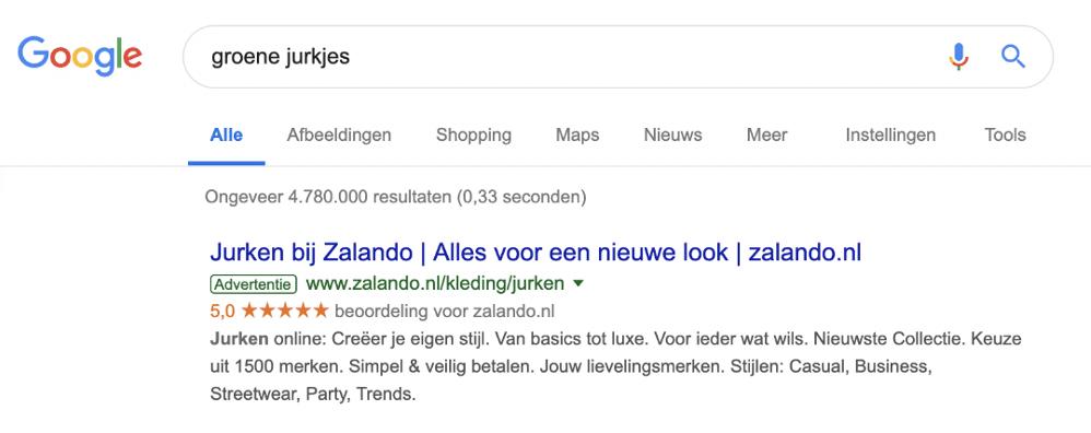 Eerste resultaat dat je ziet als je in Google zoekt op Groene Jurk