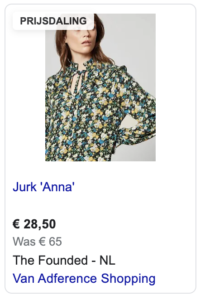 Voorbeeld sale_price in Google Shopping
